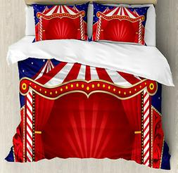 Red Blue Duvet Cover Set with Pillow Shams Canvas Circus Ten