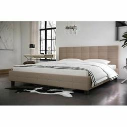 DHP Rose Linen Button Tufted Upholstered Platform Bed with W