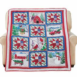Collections Etc Rustic Winter Farm Holiday Printed Patchwork
