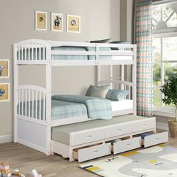 Solid Wood Bunk Beds for Kids Hardwood Twin Over Twin w/ Tru
