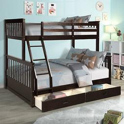 Solid Wood Kids Bunk Bed Twin over Full  Wooden Bunk Beds w/