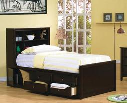Twin Size Bookcase Chest Bed in Cappuccino Finish