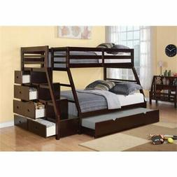 Pemberly Row Twin Over Full Storage Bunk Bed with Trundle in