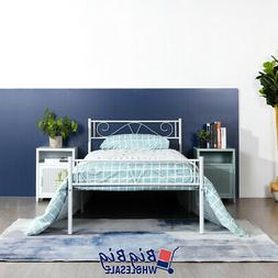 Twin Size Metal Bed Frame White Mattress Foundation with Hea