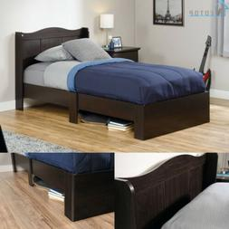 Twin Size Bed Frame with Headboard Bedroom Furniture Wood Un