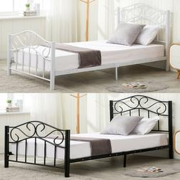 Twin Size Metal Bed Frame Kids Adults with Headboard and Foo