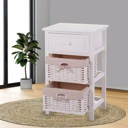 White Nightstand  Bedside End Table Organizer w/2 Wicker Sto